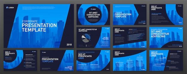 ビジネスプレゼンテーションのpowerpointテンプレートセット Premiumベクター