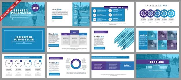 Бизнес-презентация powerpoint отображает шаблоны из инфографических элементов. Premium векторы