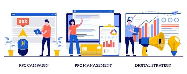 Управление кампанией ppc, концепция цифровой стратегии с иллюстрацией крошечных людей Premium векторы