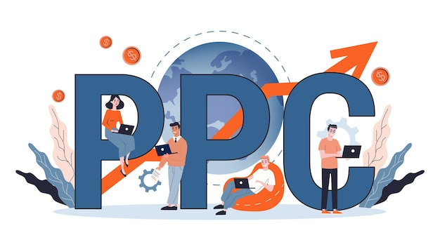 Ppc pay per click advertising in the internet. marketing strategy for business promotion. pay for banner on the web page. illustration in cartoon style Premium Vector