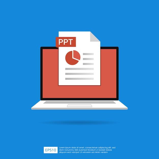 노트북 화면 개념에 Ppt 파일 아이콘입니다. 문서 기호의 형식 확장자 프리미엄 벡터