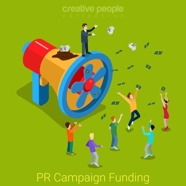 Финансирование pr-кампании плоских изометрических продуктов и услуг промо-концепция бизнесмен громкоговоритель пропеллер впустую утечка денег. Бесплатные векторы