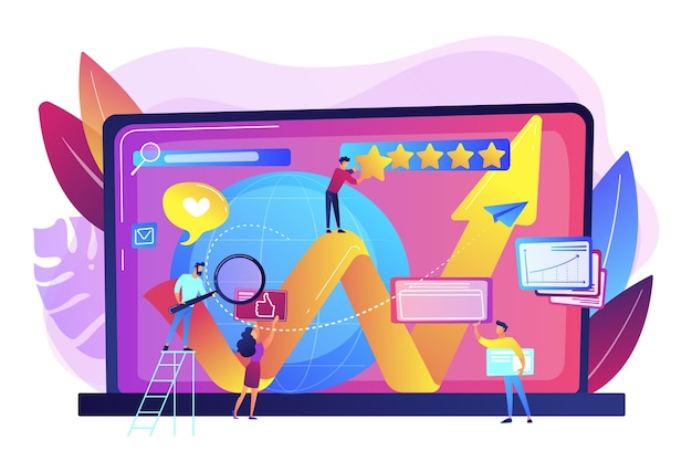 Pr managers, internet marketers coworking. online reputation management, product and service search results, digital space representation concept. Free Vector