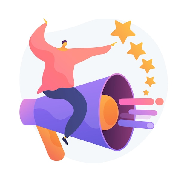Pr and marketing campaign. propaganda, news, broadcasting. public relations agency. megaphone and ranking stars isolated flat design element. Free Vector