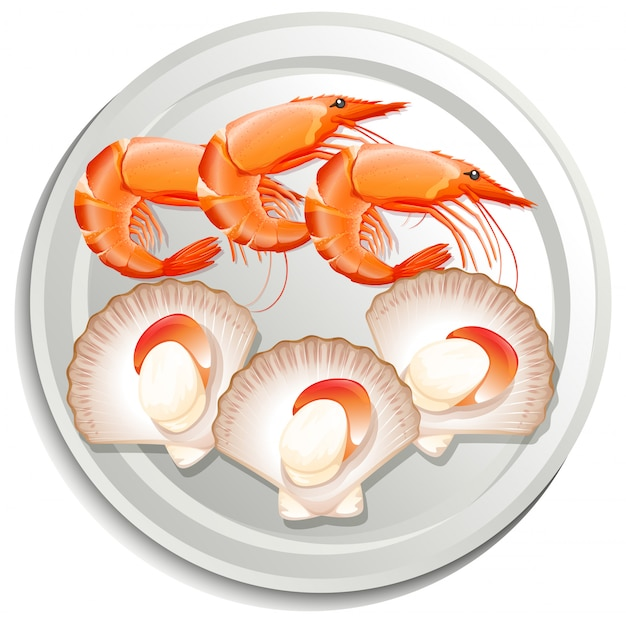 Prawns and scallops on plate Free Vector