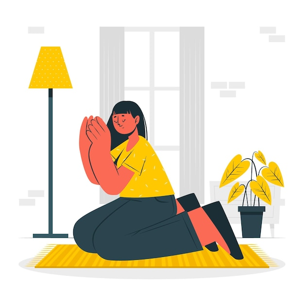 Pray concept illustration Free Vector