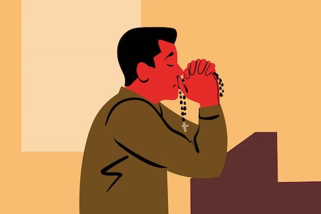 Praying, god, religion, church, christianity, request, faith concept Premium Vector