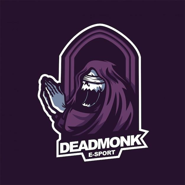 Praying grim reaper e-sport gaming mascot logo template Premium Vector