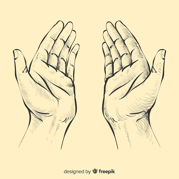 Praying hands background Free Vector
