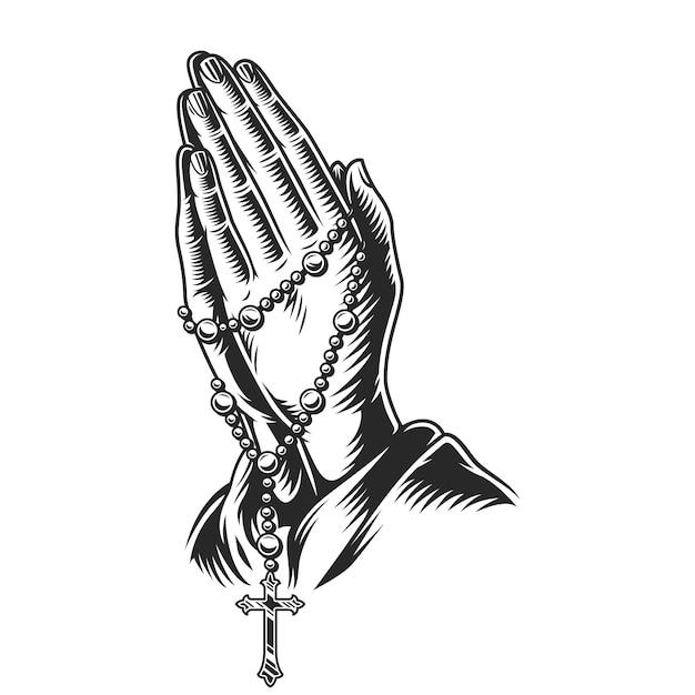 Mani di preghiera che tengono rosari Vettore gratuito