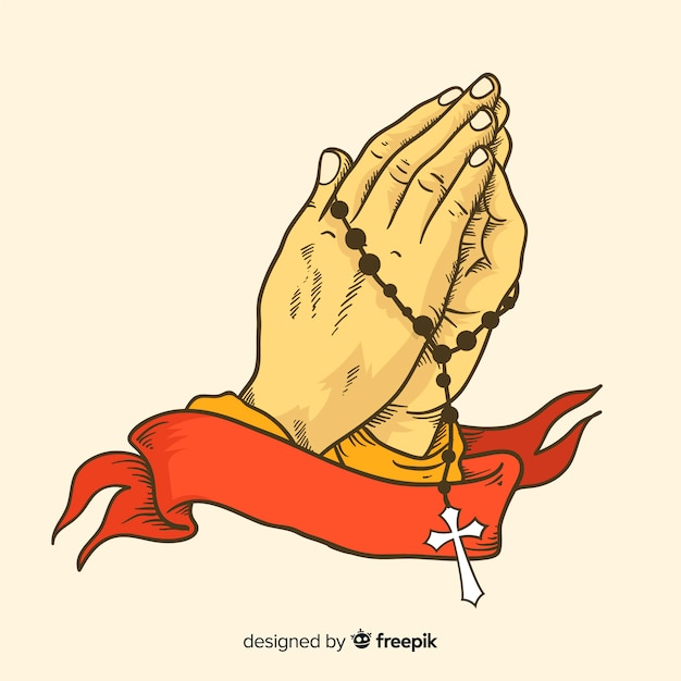 Praying hands with ribbon background Free Vector