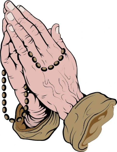 praying hands with rosary vector free download