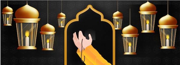 Praying human hands in front of mosque door and hanging illumina Premium Vector
