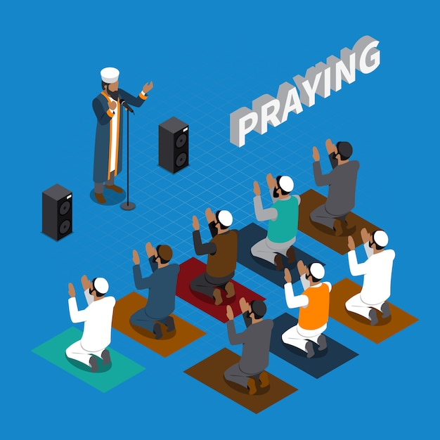Praying in islam isometric composition Free Vector