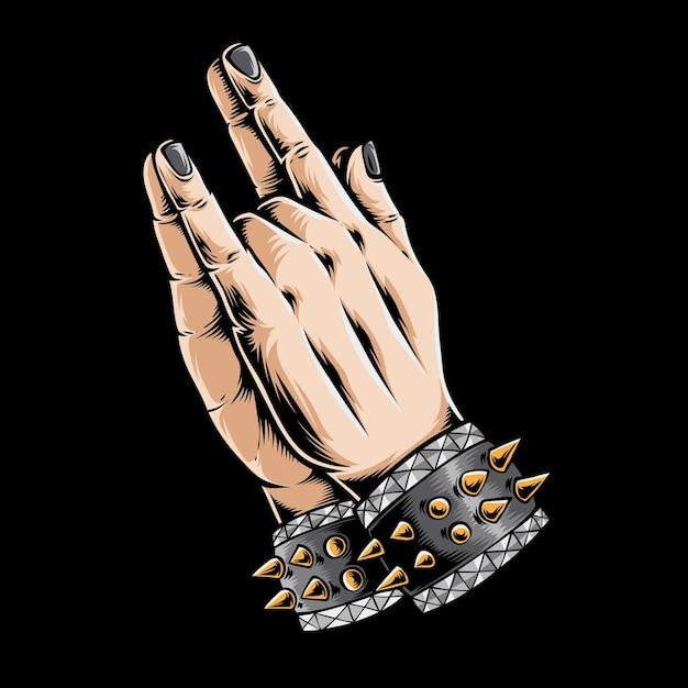 블랙에 고립 된 금속 손기도 무료 벡터