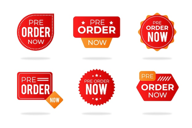 Preordina la raccolta delle etichette Vettore gratuito