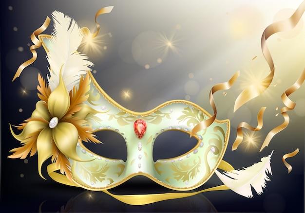 Precious face carnival mask realistic Free Vector