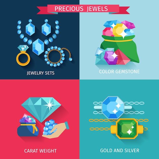 Precious jewels design concept set Free Vector