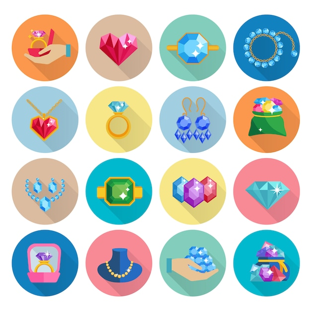 Precious jewels icons flat set with luxury earrings rings bracelets and necklaces isolated Free Vector