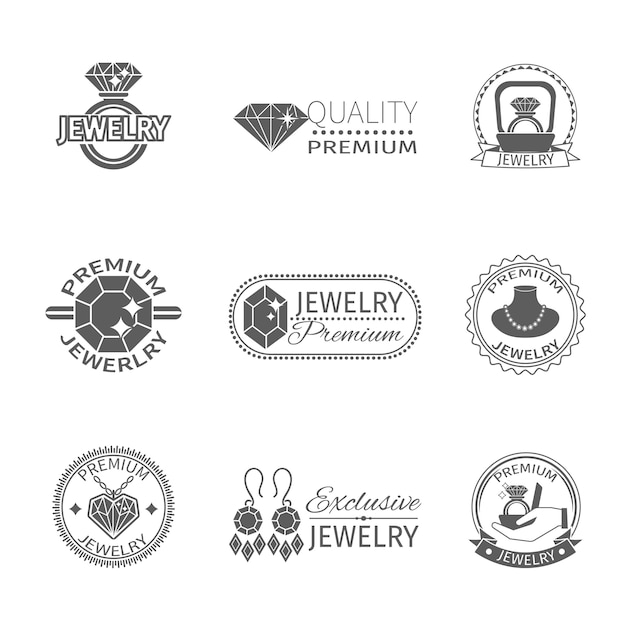 Precious jewels premium quality jewelry and gems label set isolated Free Vector