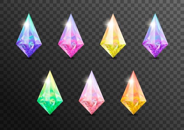 貴石と宝石、宝石。ラインストーンとブリリアント、サファイアとアメジスト、アクアマリンとトルマリン、ダイヤモンドとエメラルド、クォーツとルビーの宝石、aが透明に分離 Premiumベクター