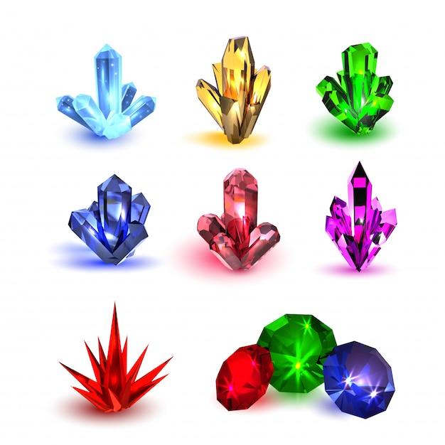 Драгоценные камни установлены. разноцветные камни разных форм Premium векторы