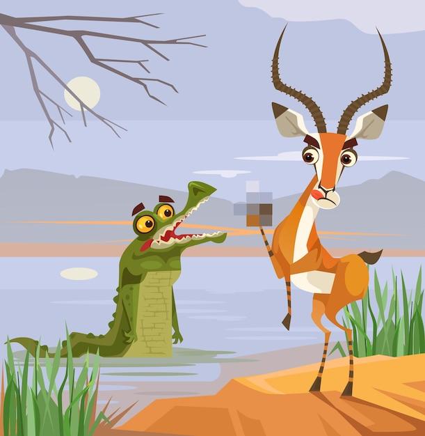 Крокодил-хищник и персонажи-жертвы-антилопы. Premium векторы