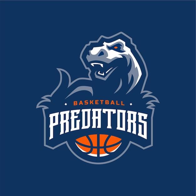 Хищники баскетбольный динозавр логотип Premium векторы