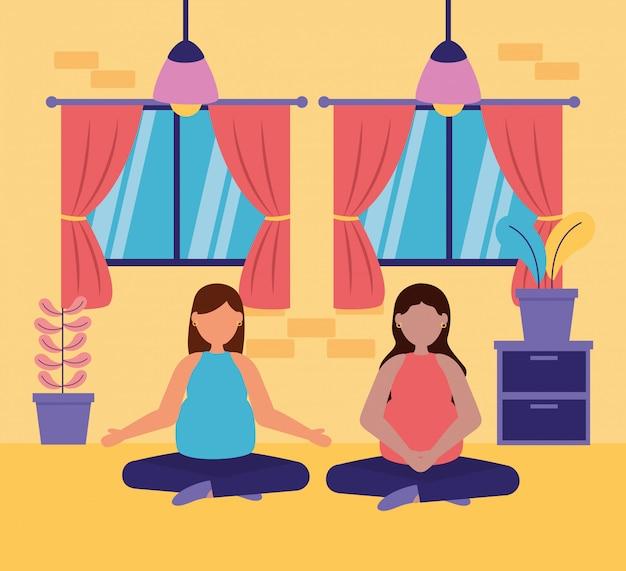 Сцена беременности и материнства Бесплатные векторы