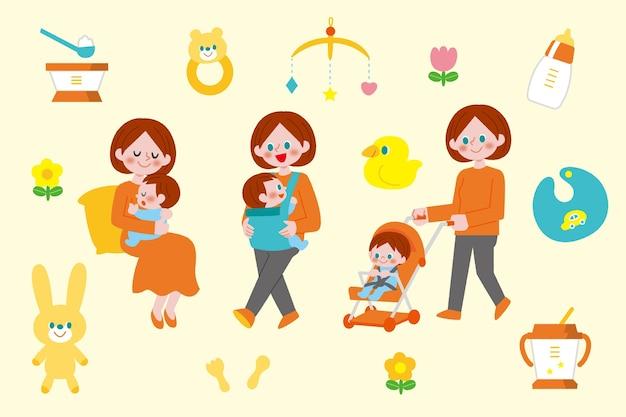 Иллюстрированные сцены беременности и родов Бесплатные векторы