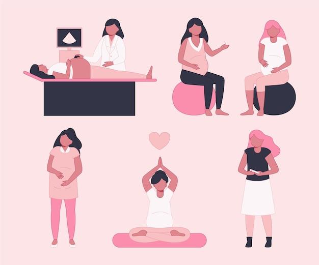 Сцены беременности и родов Бесплатные векторы