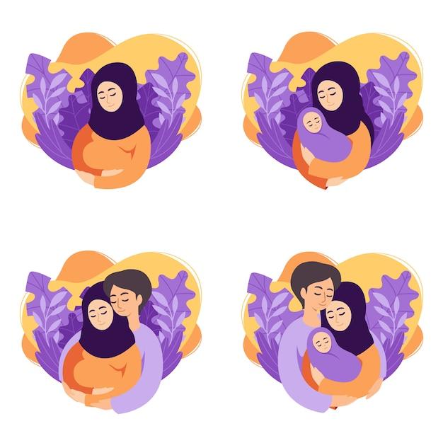 Иллюстрация концепции беременности и родительства. множество сцен мусульманской беременной женщины, мать с новорожденным, будущие родители ожидают ребенка, мать и отец с новорожденным ребенком. Premium векторы