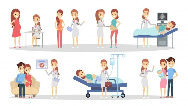 Pregnancy at clinic. from x-ray to newborn. Premium Vector