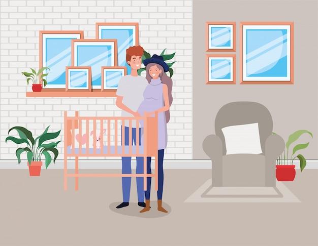 Pregnancy couple in baby room scene Free Vector