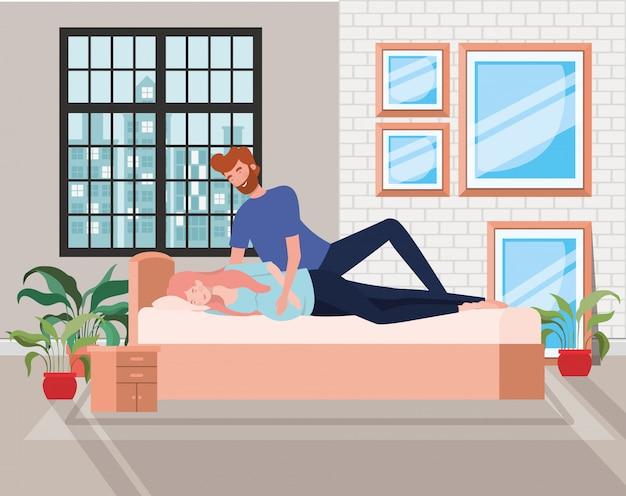 Pregnancy couple in bedroom charactes Free Vector