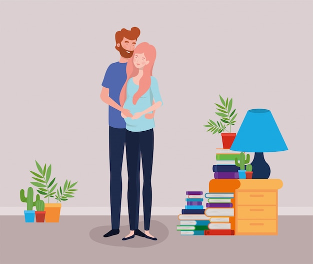 Pregnancy couple in house place scene Free Vector