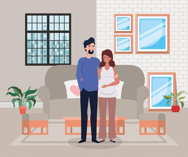 Pregnancy couple in livingroom scene Free Vector