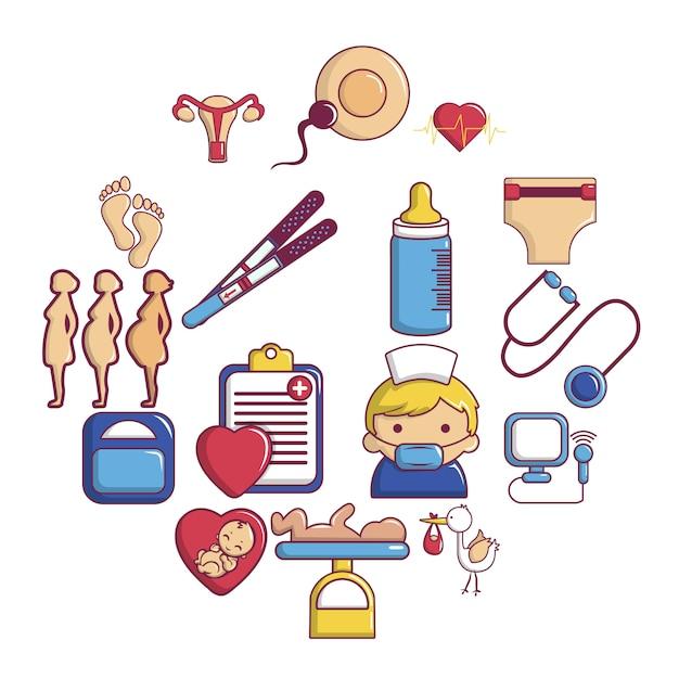 Pregnancy icon set, cartoon style Premium Vector