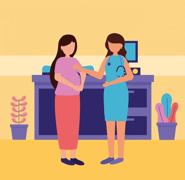 Pregnancy and maternity scene Free Vector
