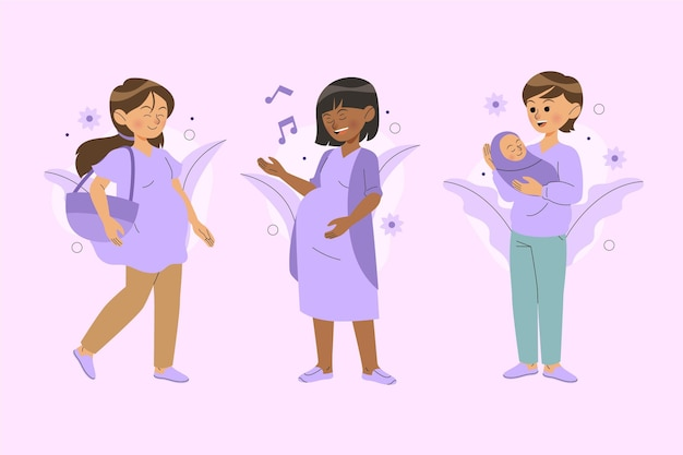 Pregnancy and maternity scenes illustrated Free Vector