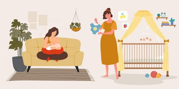 Illustrazione di scene di gravidanza e maternità Vettore gratuito