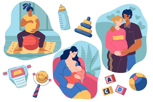 Scene di gravidanza e maternità Vettore gratuito