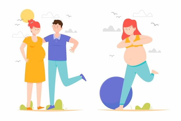 Pregnancy and maternity scenes Free Vector