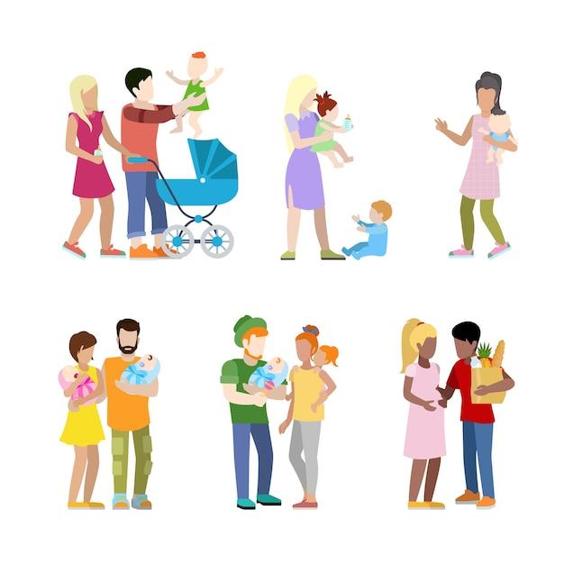 Беременность дородовой новорожденный семья городской молодежь родители воспитание детей медсестра Бесплатные векторы