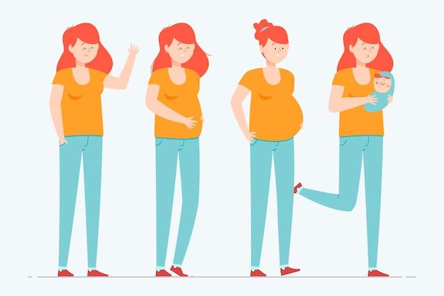임신 단계 그림 무료 벡터