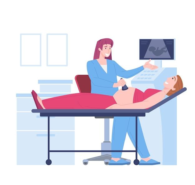 Pregnancy ultrasound exam of embryo Premium Vector
