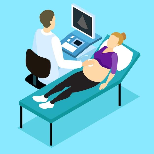 Pregnancy ultrasound scan isometric design Free Vector