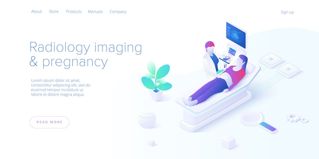Pregnancy ultrasound screening in isometric vector design. radiology imaging scan procedure with pfemale doctor and patient. healthcare medical sonogram. web banner layout template for website. Premium Vector