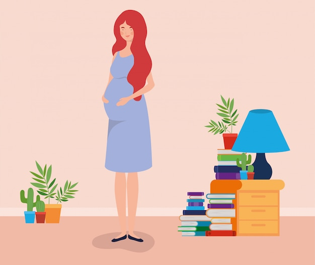 Pregnancy woman in house place scene Free Vector