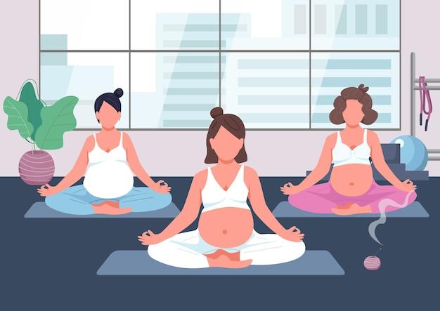 Группа йоги беременности плоский цвет. урок дородовых упражнений. женщина с животом младенца медитирует. молодая мать расслабиться. беременные 2d герои мультфильмов с интерьером на заднем плане Premium векторы